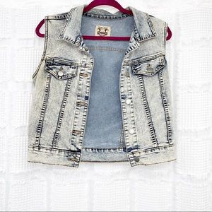 Denim vest light acid wash look M